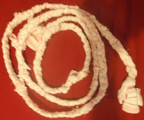 This is what it should look like once you reach the desired length of the rope.