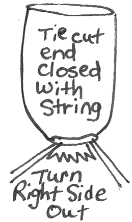 Tie cut end closed with string.