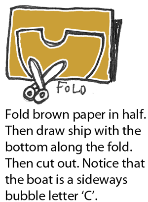 draw a ship with the bottom along the fold.