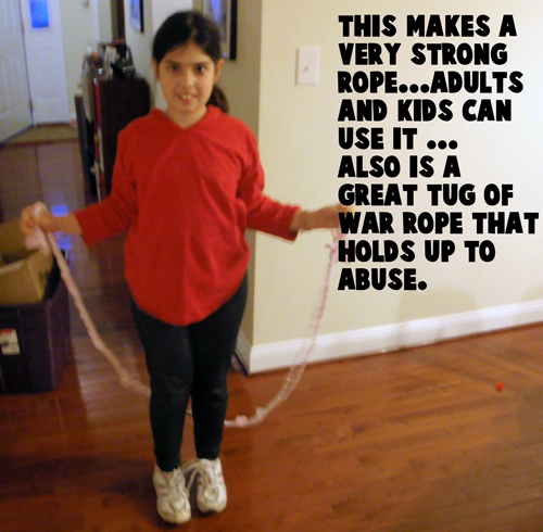 Finished braided jump rope.