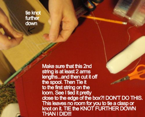 Make sure that this 2nd string is at least 2 arms length... and then cut it off the spool.