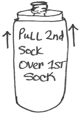 Pull second sock over first sock.