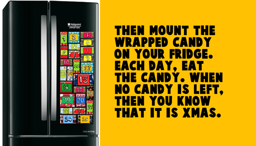 Then mount the wrapped candy on your fridge.