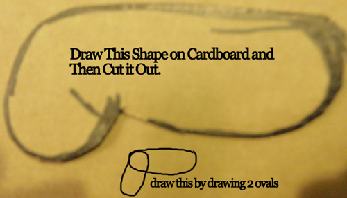 Draw this shape on cardboard and then cut it out