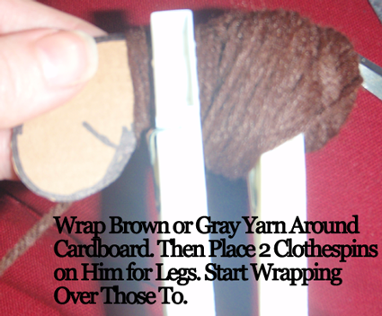 Wrap brown or gray yarn around cardboard.