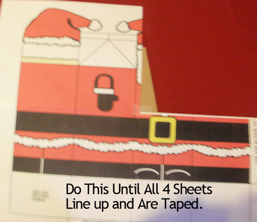 Do this until all 4 sheets line up and are taped.