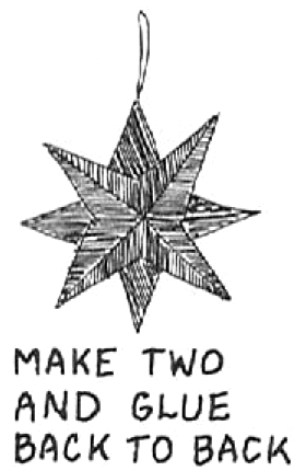 Make two of these four-pointed stars, and then glue together back to back, with the points alternating