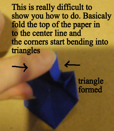 fold the top of the paper in to the center line and the corners start bending into triangles
