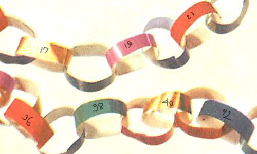 Finished 100th day of school paper chain.