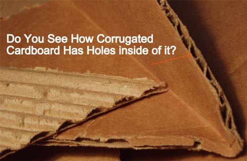 corrugated cardboard has holes inside of it