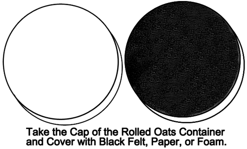 Take the cap of the rolled oats container and cover with black felt
