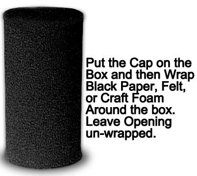 Put the cap on the box and then wrap black paper, felt or craft foam around the box