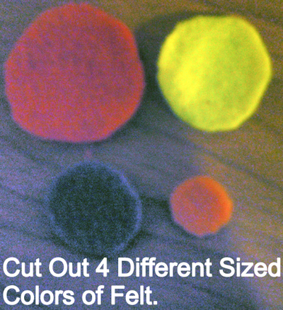 Cut out 4 different sized colors of felt.