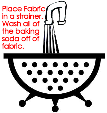 Wash all of the baking soda off of the fabric.