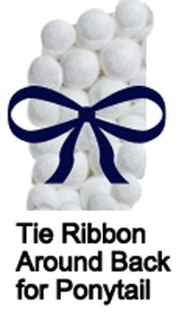 Tie ribbon around back for ponytail.