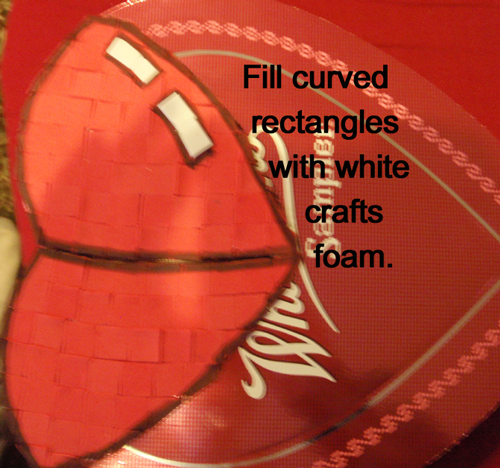 Fill curved rectangles with white craft foam.