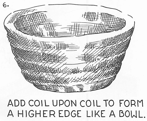 Add coil upon coil to form a higher edge like a bowl.