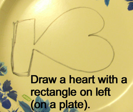 Draw a heart with a rectangle on lef