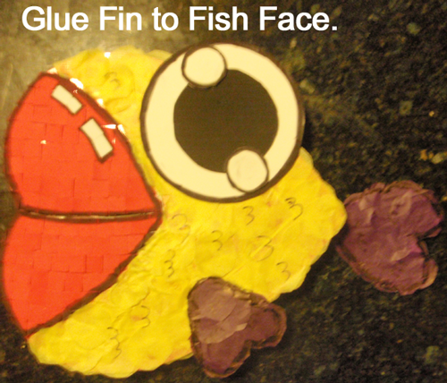 Glue fin to fish face.