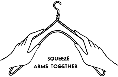 Squeeze the arms of the wire hanger together.
