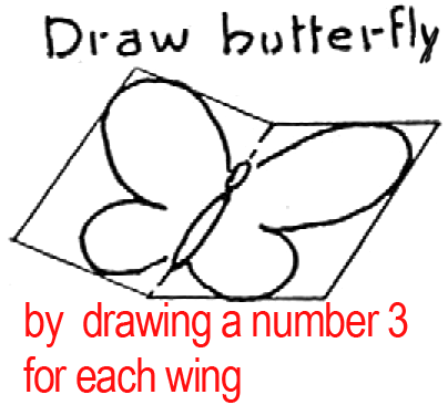 Draw butterfly by drawing a number 3 for each wing.