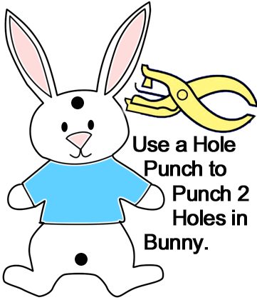 Use a hole punch to punch 2 holes in bunny.