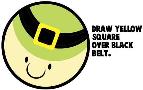 Draw yellow square over black belt.