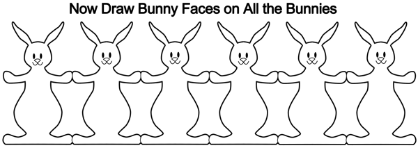 Now draw bunny faces on all the bunnies.