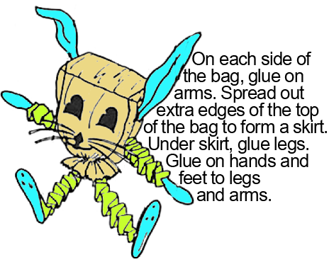On each side of the bag, glue on arms.