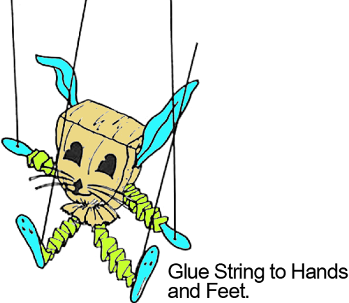 Glue string to hands and feet.