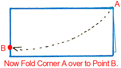 Now fold corner A over to point B.