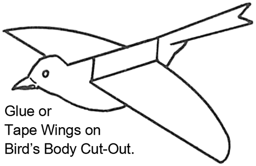 Glue or tape wings on bird's body cut-out.