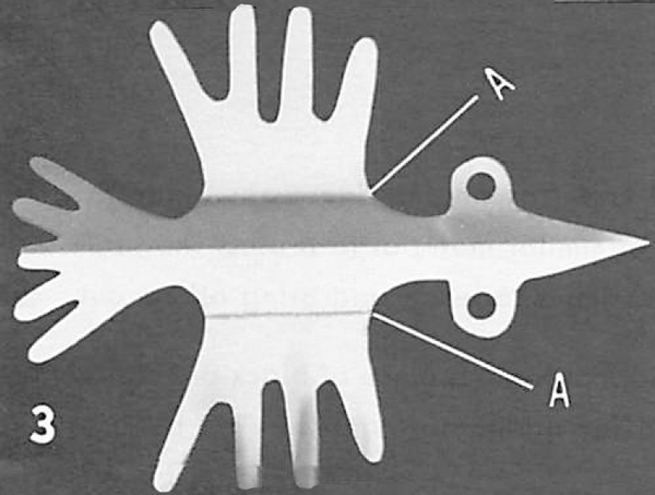 """Using a ruler as a straight edge, fold upward the wings of the bird at points """"A''."""