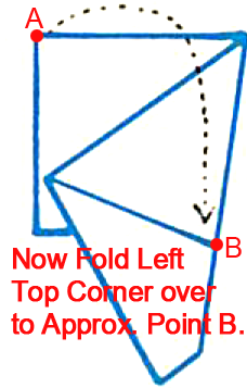 Now fold left top corner over to approximately point B.