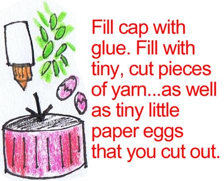 Fill cap with glue.