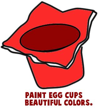 Paint egg cups beautiful colors.