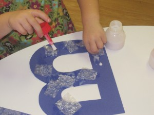 Tactile Letters using Bubble Wrap