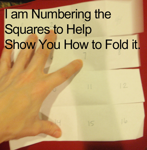 I am numbering the squares to help show you how to fold it.