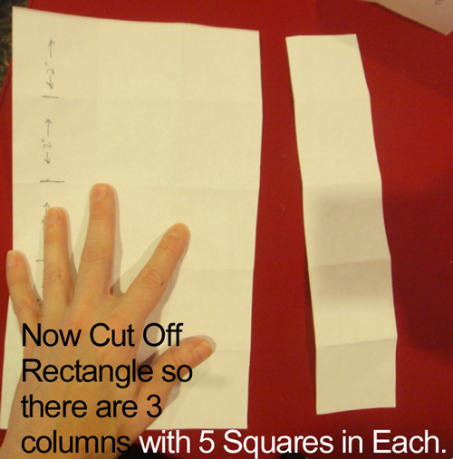 Now cut off rectangle so there are 3 columns with 5 squares in each.