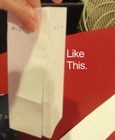 Now fold the paper into long rectangle, like above picture.  Glue together.