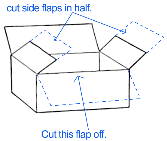 Cut one flap off one long side of the box.