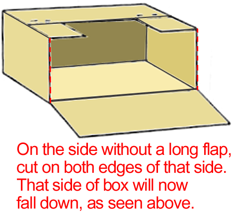 Cut side (with flap removed)  down at both corners and fold down as in above illustration.