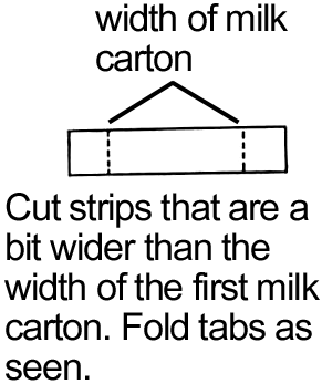 Cut strips that are a bit wider than the width of the first milk carton.