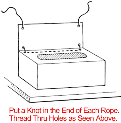Tie a knot in one end of each piece of rope. Put rope through the 3 holes as in sketch above.