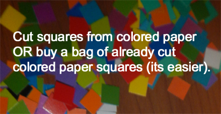 Cut squares from colored paper