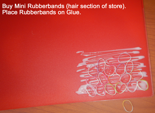 Place rubberbands on glue