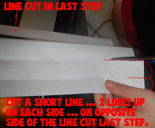 Cut a short line... 2 lines up on each side