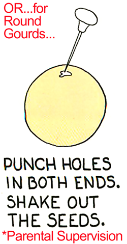 Punch holes in both ends.  Shake out the seeds.