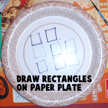 Draw rectangles on paper plate.