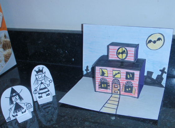 Finished Haunted House Pop-up Card